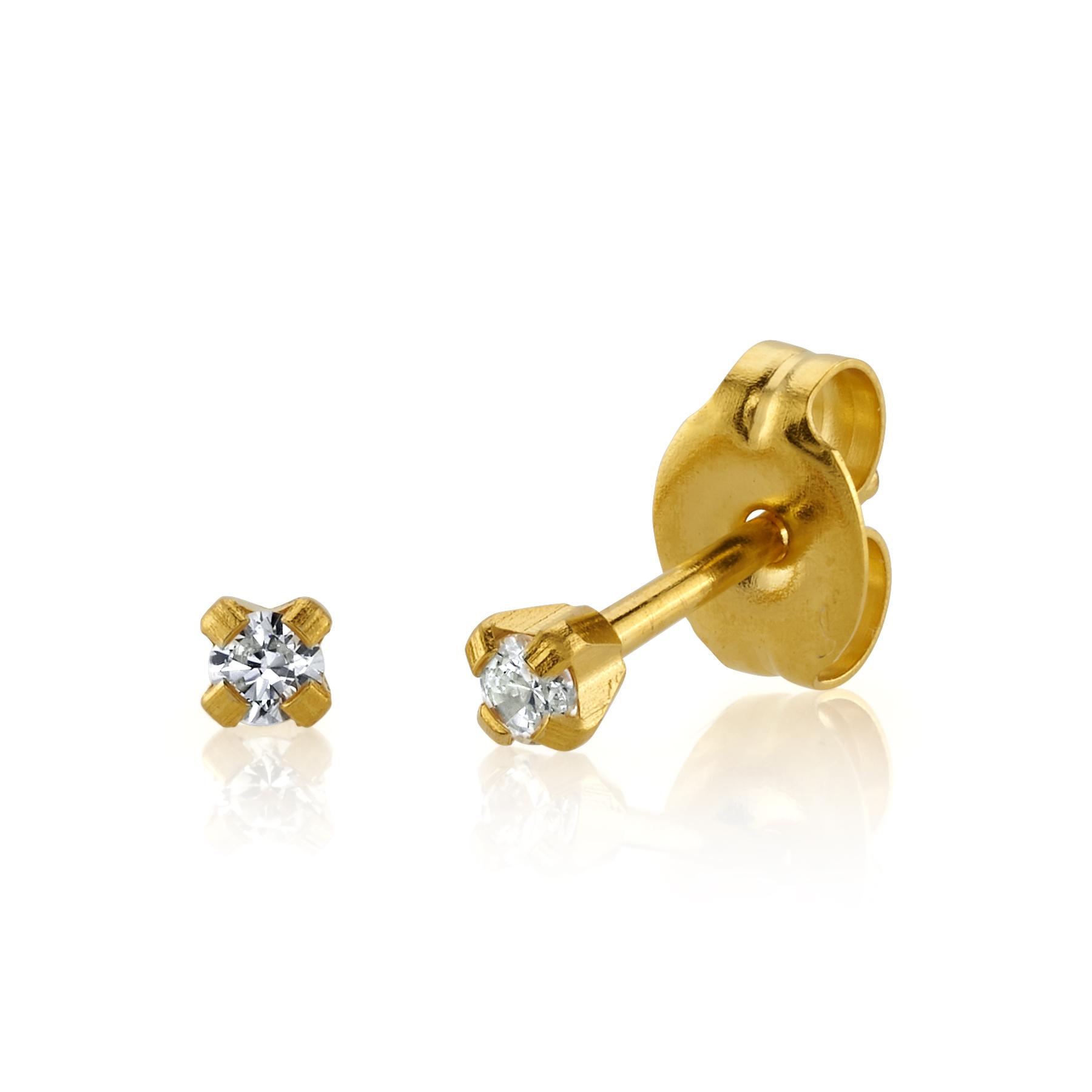 14K Gold & Diamond Ear Piercing Studs