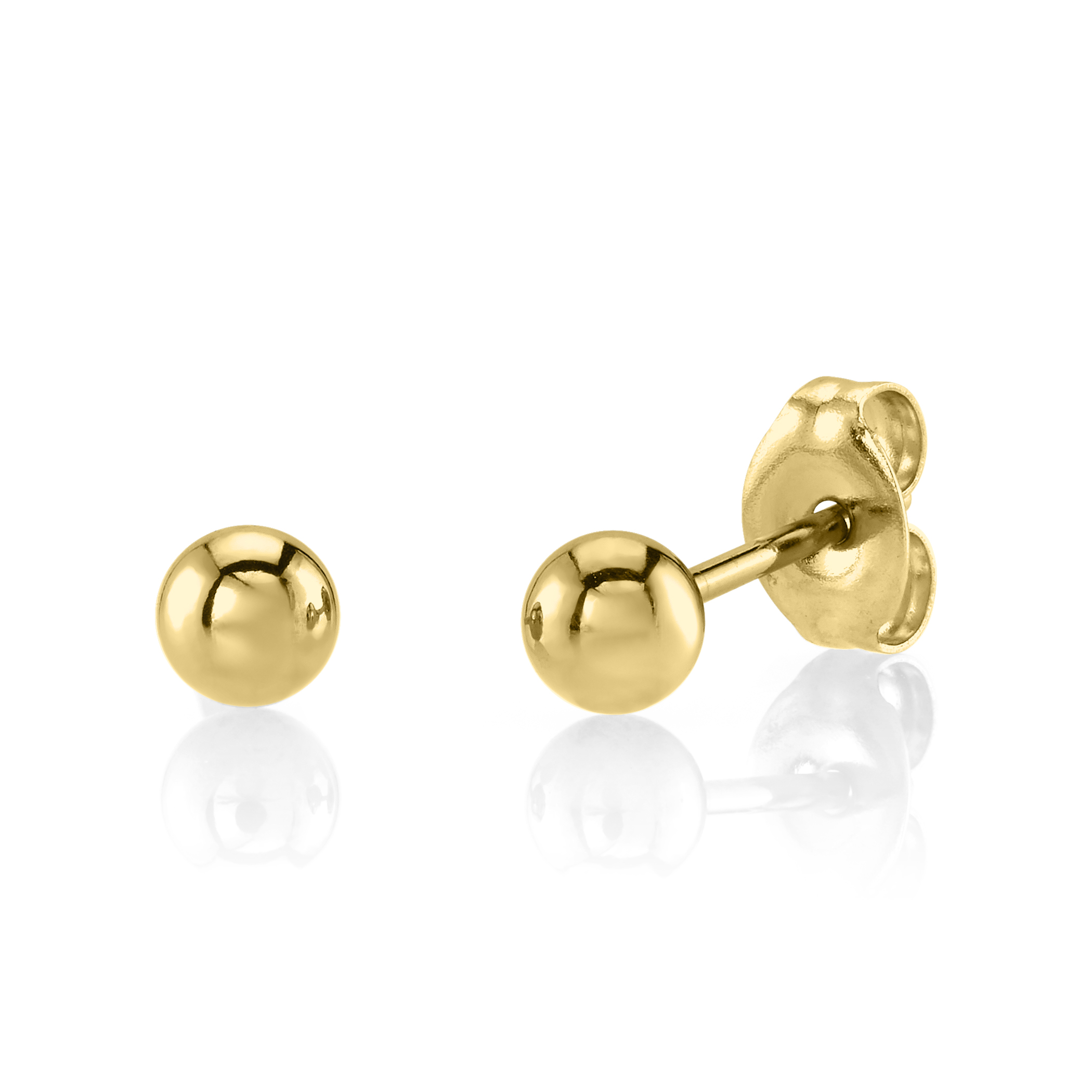 Gold Plated Stainless Steel 3MM Baby Post Ball Ear Piercing Studs