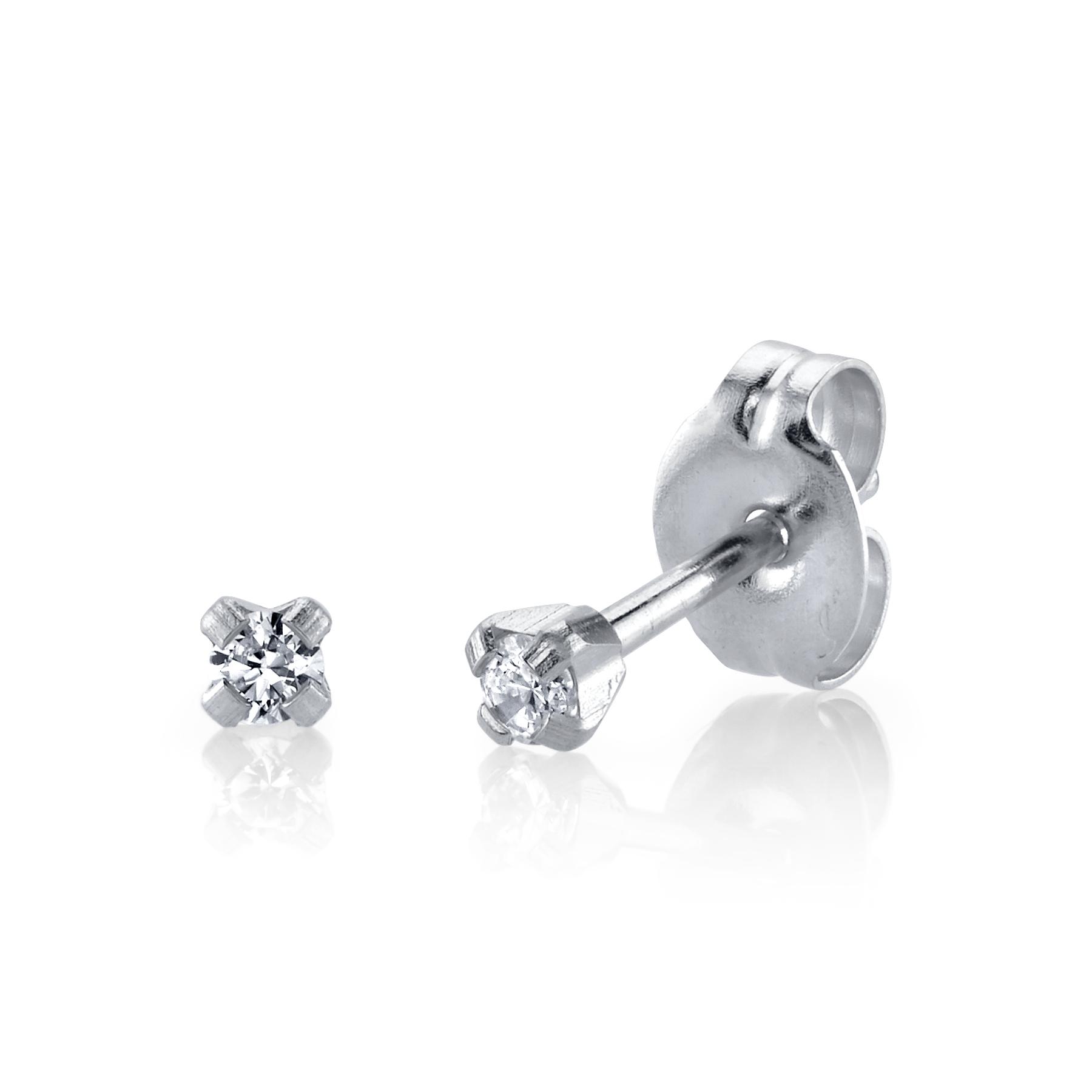 14K White Gold & Diamond Ear Piercing Studs